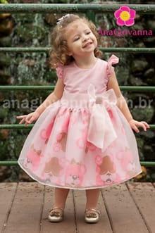 vestido infantil ursos marrom e rosa