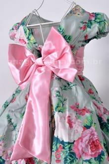 Vestido Floral de Festa Infantil costas