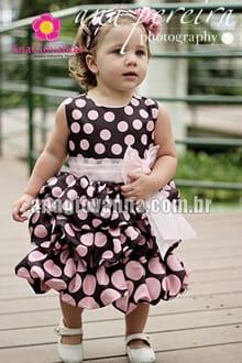 Vestido de bebe rosa e marrom