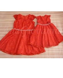 Vestidos Mãe e Filha Renda Vermelho
