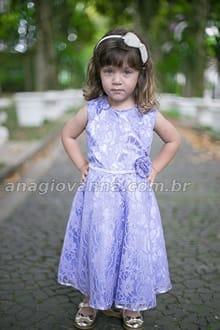 vestido infantil de renda Lilás