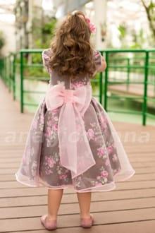 Vestido Infantil para festa Rosa e Marrom
