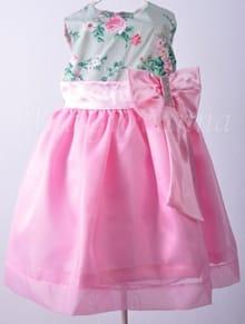 Vestido Infantil Floral Verde